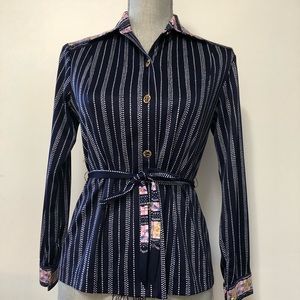 Vintage 1970's striped blouse floral trim